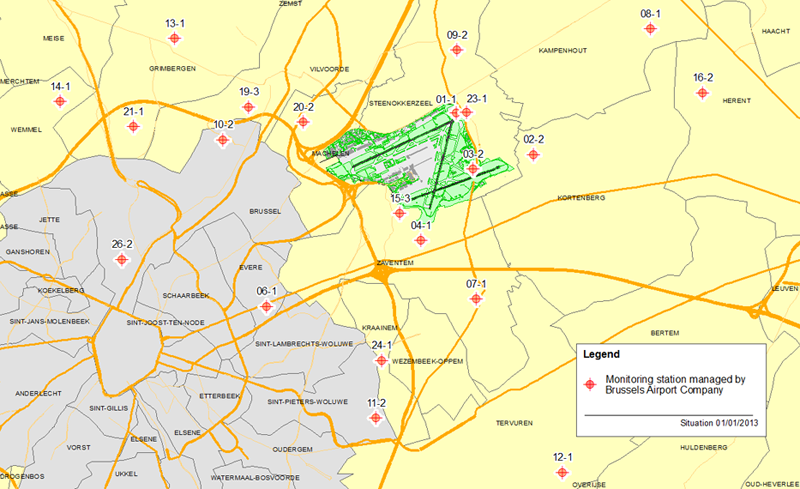 Map Of Brussels Airport Brussels Airport Company | Noise Reporting